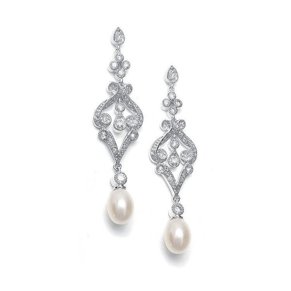 Vintage CZ Scroll Earrings with Freshwater Pearl-Earrings-Here Comes The Bling™