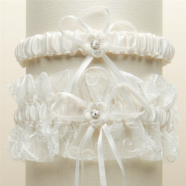 Vintage Floral Embroidered Tulle Garter Set (Available in 4 Colors)-Garters-Here Comes The Bling™