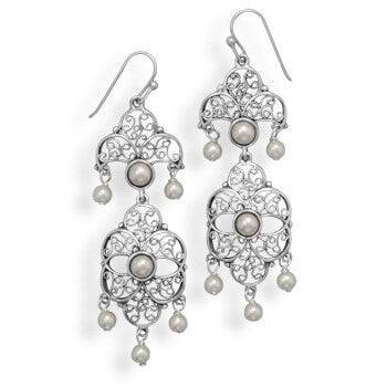 Vintage Imitation Pearl Drop Earrings-Earrings-Here Comes The Bling™