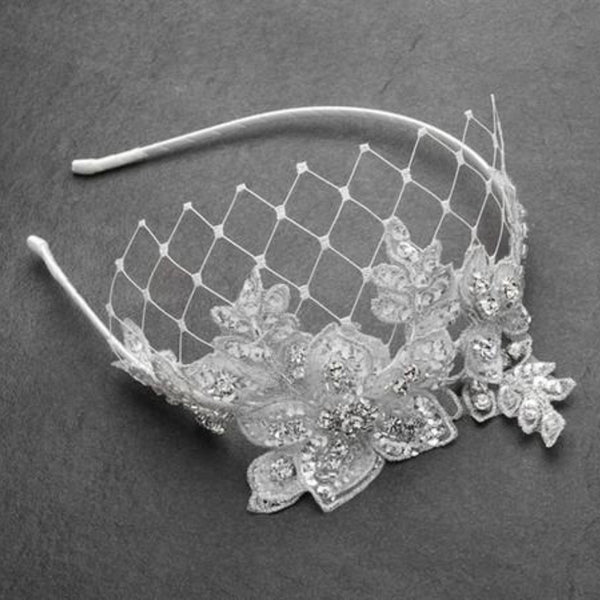 Vintage Inspired Crystal Embellished Lace Wedding Headpiece (Available in 2 Colors)-Fascinators-Here Comes The Bling™
