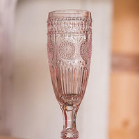 Vintage Inspired Pressed Glass Flute in Blush Pink-Toasting Flutes-Here Comes The Bling™