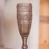 Vintage Inspired Pressed Glass Flute in Smokey Gray-Toasting Flutes-Here Comes The Bling™