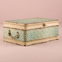 Vintage Inspired Wood Suitcase with Hinged Lid Sea Blue-Decor-Boxes-Here Comes The Bling™