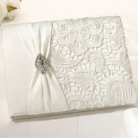 Vintage Lace Guest Book-Guest Books-Here Comes The Bling™