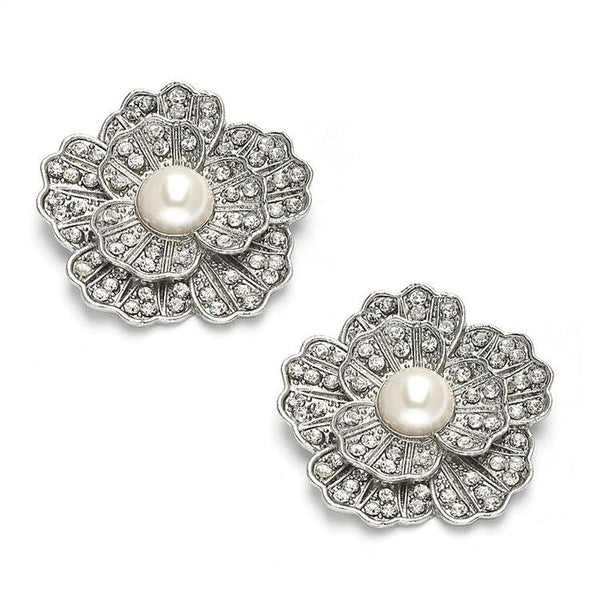 Vintage Marcasite Pearl & Crystal Flower Clips-Clips-Here Comes The Bling™