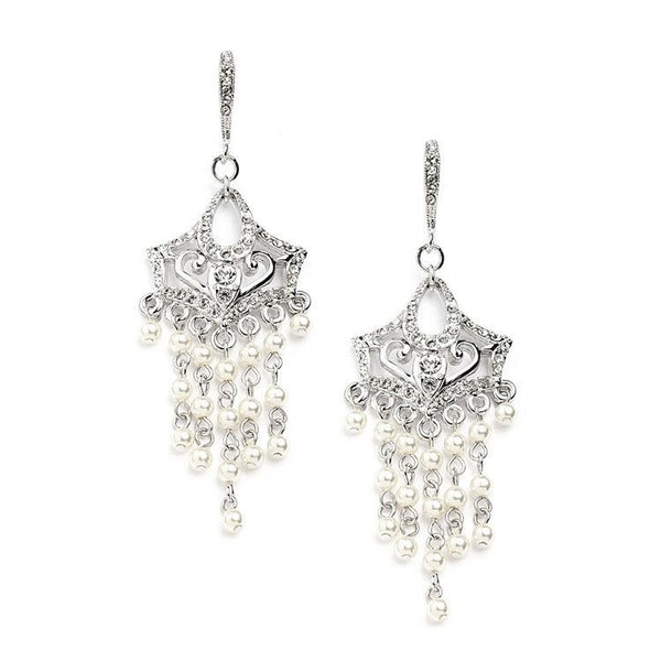 Vintage Pearl Chandelier Wedding Earrings with Cubic Zirconia Encrusted French Wires-Earrings-Here Comes The Bling™