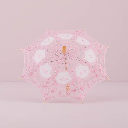 Vintage Pink Battenburg Lace Parasol (Available in 2 Sizes)-Parasol-Here Comes The Bling™
