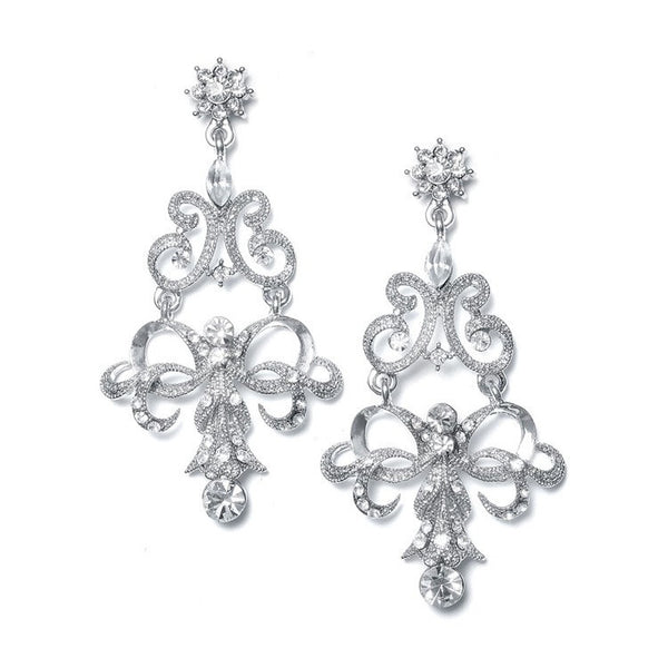 Vintage Ribbon Crystal Chandelier Earrings-Earrings-Here Comes The Bling™