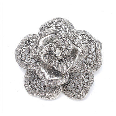 Vintage Rose Crystal Silver Brooch-Brooches-Here Comes The Bling™