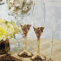 Vintage Rose Wedding Champagne Flutes-Toasting Flutes-Here Comes The Bling™