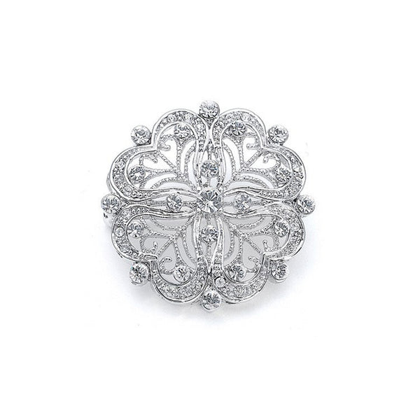 Vintage Round Filigree Cubic Zirconia Brooch-Brooches-Here Comes The Bling™