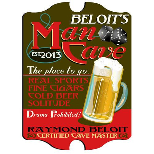 Vintage Series Personalized Signs - MAN CAVE-Sign-Here Comes The Bling™
