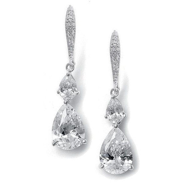Vintage Teardrop Bridal or Bridesmaid CZ Earrings-Earrings-Here Comes The Bling™