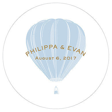Vintage Travel Hot Air Balloon Engraved Personalized Round Acrylic Block Cake-Cake Toppers-Here Comes The Bling™