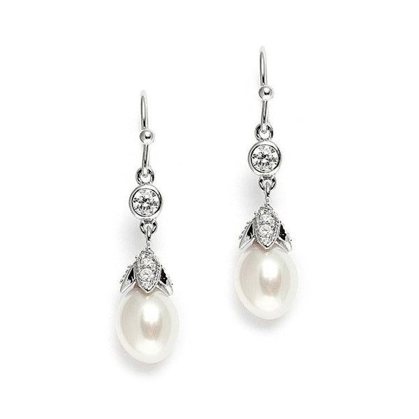 Vintage Wedding Earrings with Oval Pearl Drops-Earrings-Here Comes The Bling™