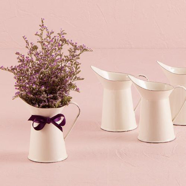 Vintage White French Provencal Mini Decorative Pitcher (Pack of 4)-Favors-Containers-Here Comes The Bling™