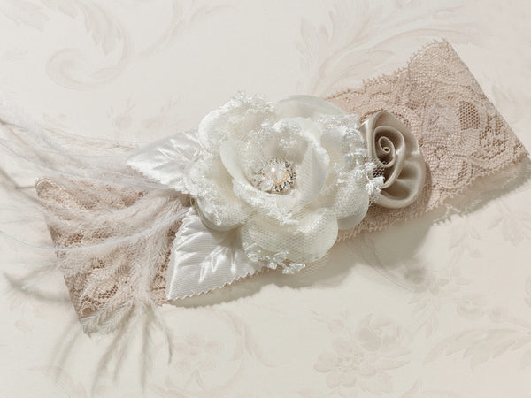 Vintage Wide Garter-Taupe-Garters-Here Comes The Bling™