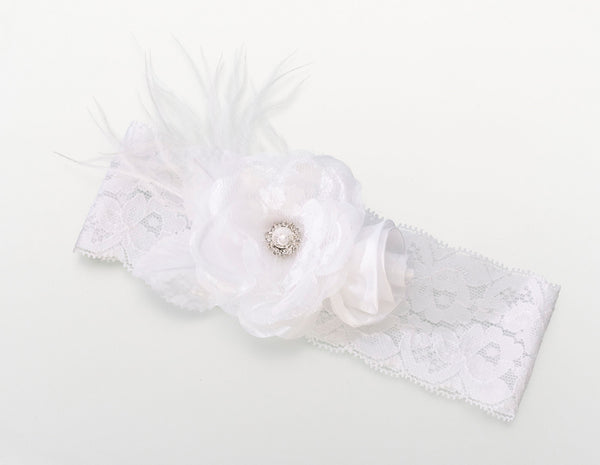 Vintage Wide Garter-White-Garters-Here Comes The Bling™