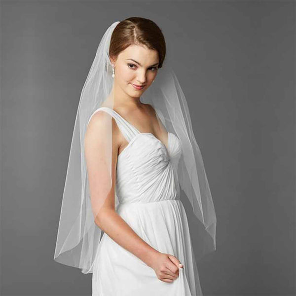 Fingertip Length Single Layer Cut Edge Bridal Veil