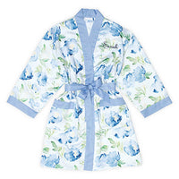 Watercolor Floral Silky Kimono Robe in Blue on White-Robes-Here Comes The Bling™