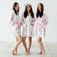 Watercolor Floral Silky Kimono Robe in Pink on White-Robes-Here Comes The Bling™