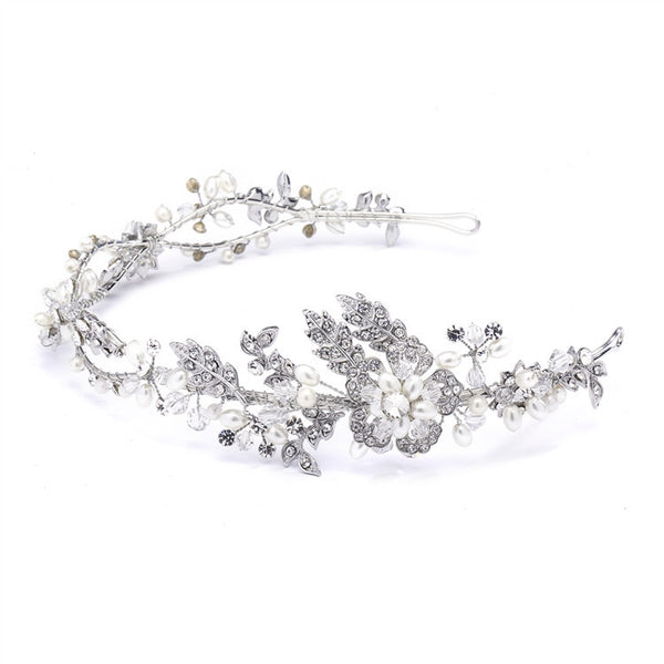Wavy Bridal Headband with Crystal and Pearl Garden-Headband-Here Comes The Bling™