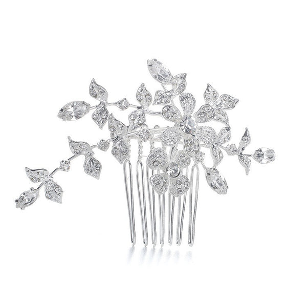 Wedding or Bridal Comb/Brooch with Crystal Garden-Combs-Here Comes The Bling™