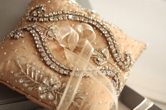 Wedding Ring Pillow - Nevio Champagne by MillieIcaro-Ring Pillow-Here Comes The Bling™