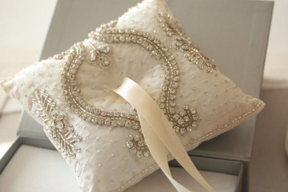 Wedding Ring Pillow - Nevio Ivory by MillieIcaro-Ring Pillow-Here Comes The Bling™