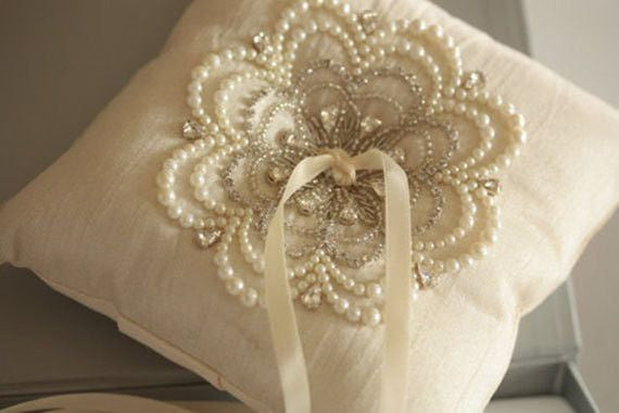 Wedding Ring Pillow - Nu Ivory by MillieIcaro-Ring Pillow-Here Comes The Bling™