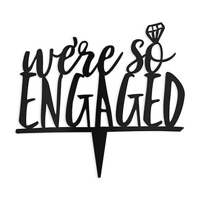 """We're So Engaged"" Cake Topper in Black-Cake Toppers-Here Comes The Bling™"