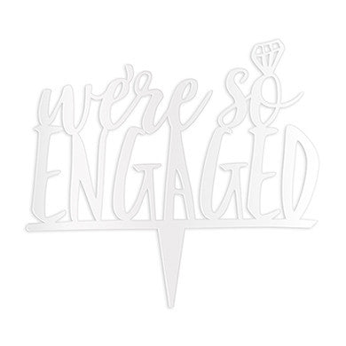 """We're So Engaged"" Cake Topper in White-Cake Toppers-Here Comes The Bling™"