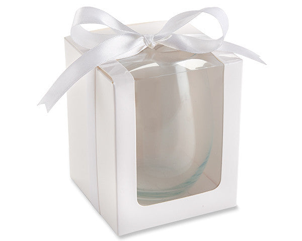 White 15 oz. Stemless Wine Glass Gift Box (Set of 12)-Favors-Boxes-Here Comes The Bling™
