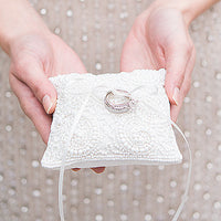 White Beaded Miniature Wedding Ring Pillow-Ring Pillow-Here Comes The Bling™