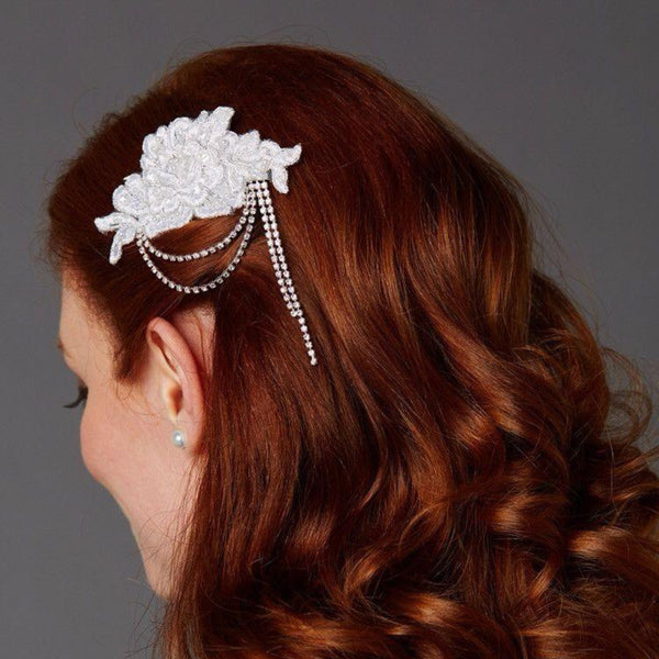 White English Rose Lace Comb with Crystal Draped Swags-Combs-Here Comes The Bling™
