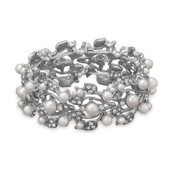 White Imitation Pearl Fashion Stretch Bracelet-Bracelets-Here Comes The Bling™