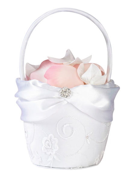 White Lace Flower Basket-Flower Basket-Here Comes The Bling™