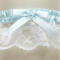 White Lace Something Blue Wedding Garter with Pearl Heart-Garters-Here Comes The Bling™