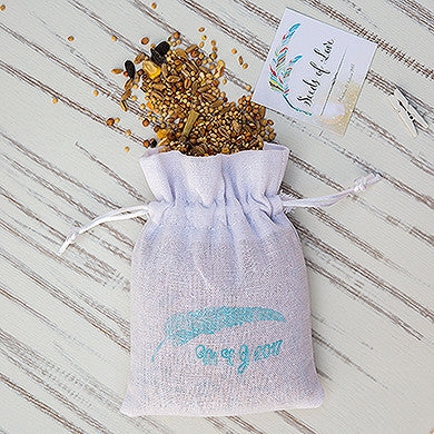 White Linen Drawstring Favor Bag (Pack of 6)