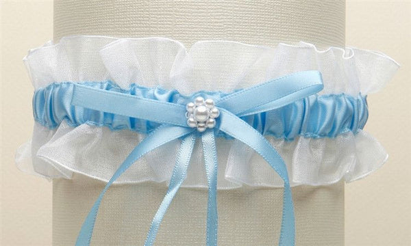 White Organza Something Blue Wedding Garter with Pearl Daisy-Garters-Here Comes The Bling™