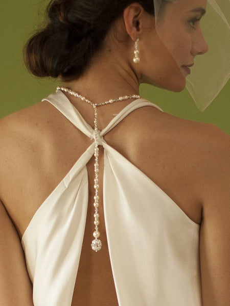 White Pearl & Crystal Long Back Necklaces for Bridal, Bridesmaids & Prom-Back Necklace-Here Comes The Bling™