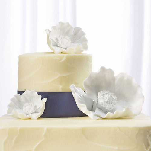 White Porcelain Bisque Poppy Blooms Cake Topper-Cake Toppers-Here Comes The Bling™