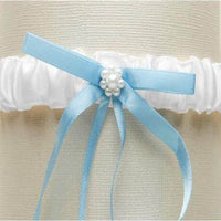 White Satin Bridal Tossing Garter with Blue Ribbon & Pearls-Garters-Here Comes The Bling™
