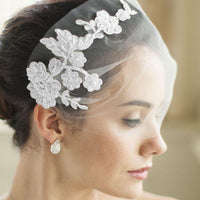 White Tulle Bandeau Wedding Veil with Beaded Lace Applique-Fascinators-Here Comes The Bling™