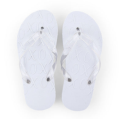 White XO Embossed Flip Flops Large-Flip Flops-Here Comes The Bling™