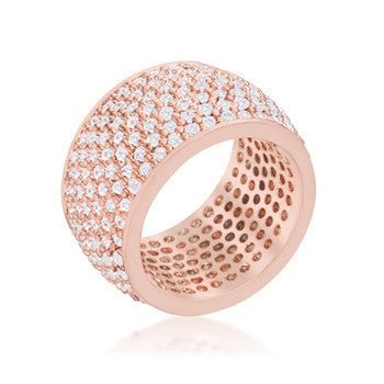 Wide Pave Cubic Zirconia Rose Gold Band Ring-Rings-Here Comes The Bling