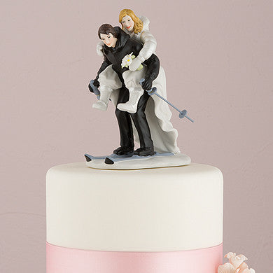 """Winter Skiing"" Cake Topper ( Select From 7 Hair Colors )-Cake Toppers-Here Comes The Bling™"