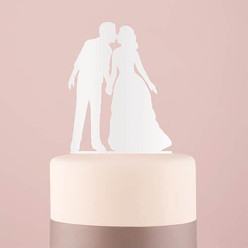"""With A Kiss"" Silhouette Acrylic Cake Topper ( Available in Black or White)-Cake Toppers-Here Comes The Bling™"