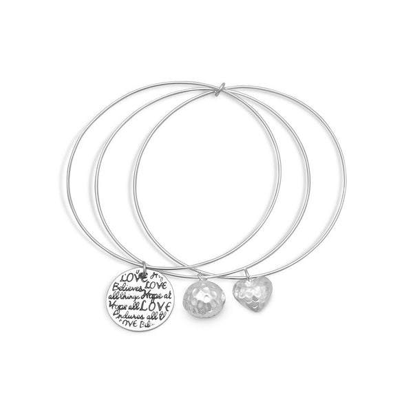 Words of Love Triple Bangle Charm Bracelet-Bracelets-Here Comes The Bling™