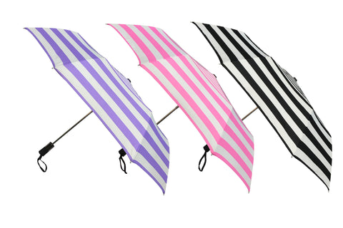 Wholesale Stripes Prints Auto Open Folding Umbrellas (6 pcs. pack) - $6.65/piece - WholesaleUmbrellas.com
